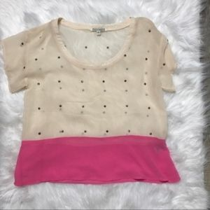 Lucca Couture Cream Pink Sheer Panel Top